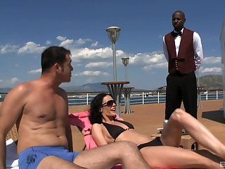 Waiter joins Aliz coupled with her fixture in a threesome on a small craft