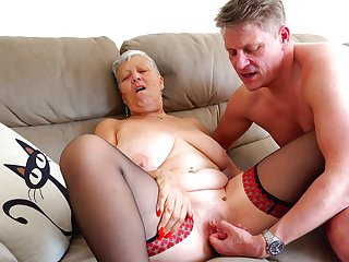 Precipitate haired grown up layman granny Savana pounded after a blowjob