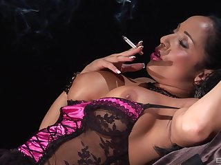 Smoking mollycoddle in lingerie blows cock with the addition of gets a hard fuck