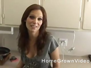 Mature long haired brunette MILF blows cock in POV