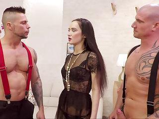 Three brutal guys sharing three Russian girl