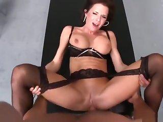 Beauteous brunette UK MILF Veronica Avluv is sucking cock