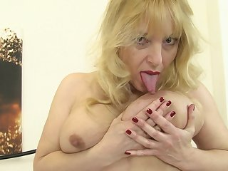 Blonde mature amateur British granny Lucy Gresty masturbates