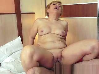 Granny banged doggystyle exposed to the bed