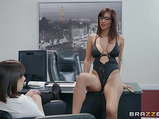 Busty and simmering office lesbians Isis Love and Jenna Sativa