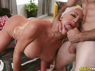 Bimbo milf is a sloppy cocksucking slut for his pleasure