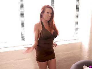 Femme fatale Faye Rampton plays with her chunky law boobs and enjoys toying pussy