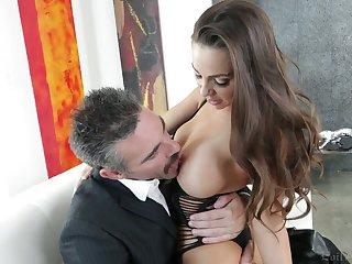 Fabulous curvy sexpot Abigail Mac blows cock adjacent to an increment of impresses dude adjacent to ride