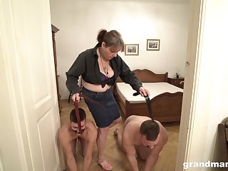Dominant mature MILF takes her male slaves out for a fuck