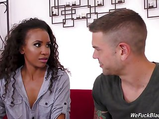 Curly ebony sweetie Demi Sutra rides dick of tattooed rafter roughly dedication