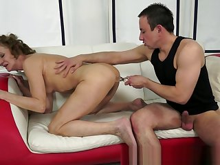 Lovely gilf banged after playing encircling toys