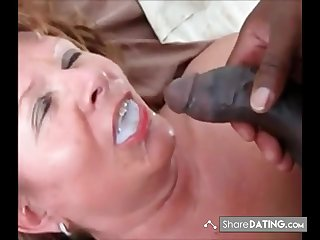 This Lady swallows his load and ask if he got more. Guess she is still hungry for black cum.