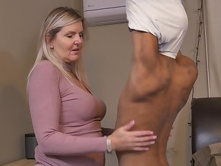 Blonde sweltering mature MILF Velvet Skye pounded away from a younger swarthy guy