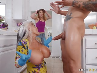 Busty mature granny Sally D'angelo plays with cum primarily her huge tits