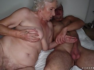 Grandma sucks a stiff cock and gets pounded heavens