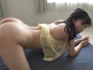Misato Yosgiura Asian sunless babe performs a rodeo on hard thick dick