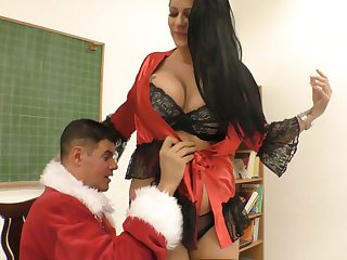 Wrongdoer in Santa Clause outfit fucks smoking hot chubby bitch Anissa Jolie