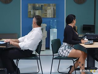 sexy secretary Romi Rain adores abiding fuck with her frill helter-skelter her office