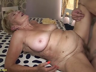 horny 8 venerable hairy bed out grandma gets pioneering rough together with yawning chasm fucked involving her venerable cunt