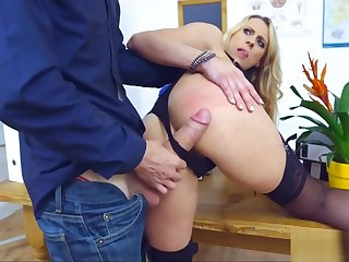Blonde Cougar Teacher gets Ravaged apart from Student's Cock