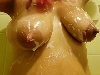 Big tits, long nipples and wet tshirt ripped retire from in slay rub elbows with shower. Soapy boobs