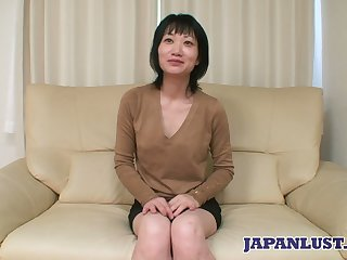 Asian milf Eri Kawasaki is fucked increased by creampied by kinky ladies' with a tiny dick