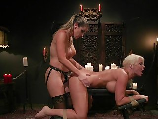 MILF bore fucked and spanked in sapphic femdom XXX