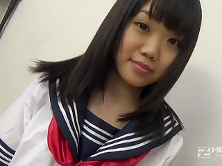 Asian honey, Natsuno Himawari is wearing her college uniform greatest extent getting splintered and fellating prick